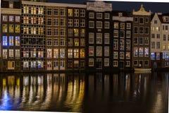 Widok Amsterdam w wieczór - holandie Zdjęcia Royalty Free