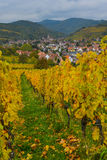 Widok Andlau wioska i kościół w jesieni, Alsace, Francja obraz royalty free