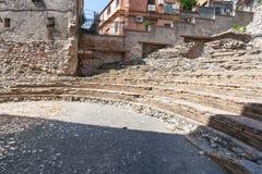 Widok antyczny rzymski teatr Odeon w Taormina obraz royalty free