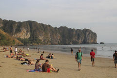 Widok Ao Nang plaża, Krabi, Tajlandia Obrazy Royalty Free