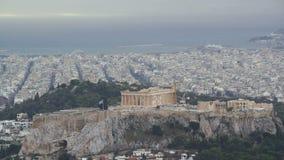 Widok Ateny i akropol od góry Lycabettus, Grecja zbiory wideo