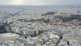 Widok Ateny i akropol od góry Lycabettus, Grecja zbiory