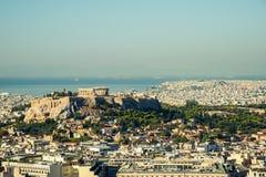 Widok Ateny i akropolu wzgórze obrazy stock