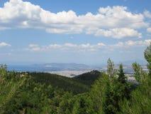 Widok Ateny miasto i salamina wyspa, Grecja Fotografia Royalty Free