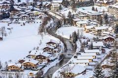 Widok austriacki zdroju i ośrodka narciarskiego Bad Gastein Zdjęcie Stock