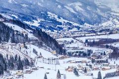 Widok austriacki zdroju i ośrodka narciarskiego Bad Gastein Fotografia Stock