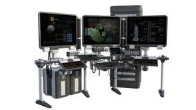Widok badawczy wyposażenie z monitorami, komputery royalty ilustracja