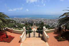 Widok Bahai ogródy & Haifa miasto, Izrael Fotografia Stock