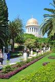 Widok Bahai ogródy i świątynia Baba na górze Carmel w Haifa Fotografia Stock