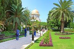 Widok Bahai ogródy i świątynia Baba na górze Carmel w Haifa Obraz Stock