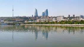 Widok Baku śródmieście od morza kaspijskiego, Azerbejdżan Zdjęcia Royalty Free