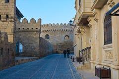Widok Baku miasto, Icheri Sheher ulicy Zdjęcia Royalty Free