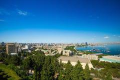 Widok Baku miasto od wyżu parka Zdjęcia Royalty Free