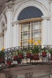 Widok balkon z kolorów żółtych kwiatami w czerwonych garnkach Obrazy Royalty Free