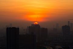 Widok Bangkok linia horyzontu przy wschodem słońca Zdjęcie Royalty Free
