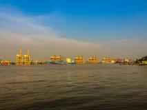 Widok Bangkok zarząd portu Tajlandia lub Klong Toey port al Obraz Royalty Free