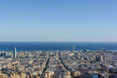 Widok Barcelona, basztowy Agbar bliźniacze wieże i Sagrada Familia bazylika, Obrazy Royalty Free