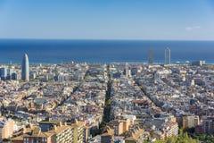 Widok Barcelona, basztowy Agbar i bliźniacze wieże, Zdjęcie Stock