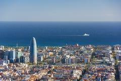 Widok Barcelona, basztowy Agbar i morze śródziemnomorskie, Obraz Stock