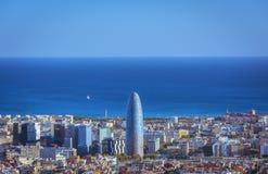 Widok Barcelona, basztowy Agbar i morze śródziemnomorskie, Zdjęcia Royalty Free