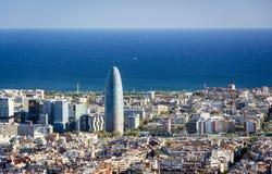 Widok Barcelona, basztowy Agbar i morze śródziemnomorskie, Fotografia Stock