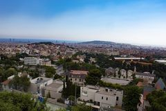 Widok Barcelona, Hiszpania od Mt Tibidabo obrazy stock