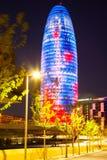 Widok Barcelona, Hiszpania. Torre agbar drapacz chmur w nocy Obraz Stock