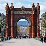 Widok Barcelona, Hiszpania. Łuk De Triomf Obraz Royalty Free
