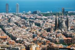 Widok Barcelona morze śródziemnomorskie, Sagrada Familia, Catalonia, Hiszpania fotografia royalty free