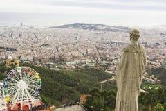 Widok Barcelona od świątyni na Tibidabo Zdjęcie Royalty Free