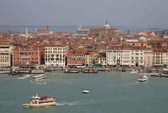 Widok basen San Marco i Weneccy budynki od belltower kościół San Giorgio Maggiore, Wenecja, Włochy Zdjęcia Stock