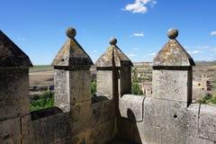 Widok battlements przy Alcazar Segovia, Hiszpania Zdjęcia Stock