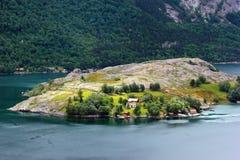 Widok Bergsholmen wyspa w Forsand zarządzie miasta, Norwegia Fotografia Royalty Free