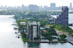 Widok Biscayne wyspa i Wenecki sposób w Miami, Floryda fotografia stock