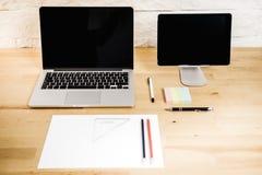 Widok biurko z komputerem Obrazy Stock
