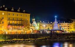 Widok Bożenarodzeniowy rynek w Innsbruck obraz stock