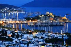 Widok Bodrum schronienie nocą Turecczyzna Riviera Obrazy Stock
