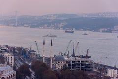 Widok Bosphorus podczas mgłowego dnia Zdjęcia Royalty Free
