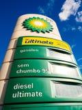 Widok BP Brytyjski spod spodu - ponaftowy totem pokazuje wszystko benzynowego p Zdjęcie Royalty Free