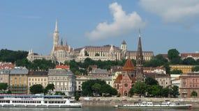 Widok Bud wzgórza od oppocite strony Danube Obraz Stock