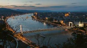 Widok Budapest mosty od Gellert wzgórza Zdjęcia Royalty Free
