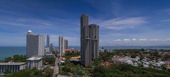 Widok budynek i Pattaya plaża Zdjęcia Stock