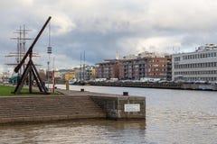 Widok budynki wzdłuż aury rzeki w Turku Fotografia Royalty Free