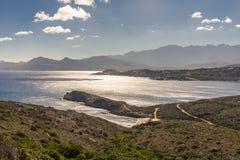 Widok Calvi góry od Revellata w Corsica i cytadela zdjęcia royalty free
