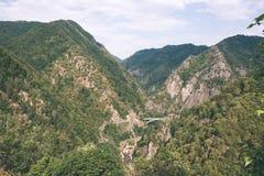 Widok carpathian góry od wierzchołka - rocznika ekranowy kibel Zdjęcie Stock