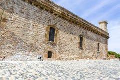 Widok Castillo De Montjuic na halnym Montjuic w Barcelona, fotografia royalty free