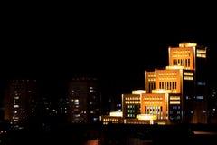 Widok centrum Dnipro miasto przy nocą Obrazy Stock