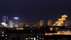 Widok centrum miasto Dnipro przy nocą Fotografia Stock