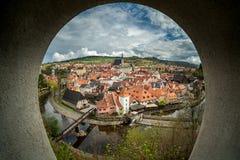 Widok Cesky Krumlov od okno Cyganeria, republika czech zdjęcie royalty free
