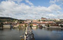 Widok Charles most Karluv Najwięcej od wzrosta Fotografia Royalty Free